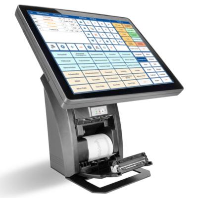 Eingeschaltetet Kassenterminal, Kassenhardware mit Touch-Display, Kasse mit offener Klappe für Kassenbelege