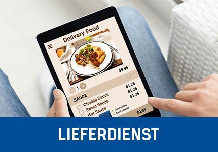 Frau mit Tablet, Bestellt bei einem Lieferdienst über die GastroSoft Kassensoftware Erweiterungen bzw. das Lieferdienst Add-On