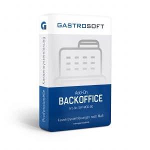 Verpackung einer professionellen Kassensoftwarelösung, Kassensystemlösung, Zusatzmodul - Add-On Backoffice
