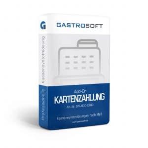 Verpackung einer professionellen Kassensoftwarelösung, Kassensystemlösung, Zusatzmodul - Add-On Kartenzahlung