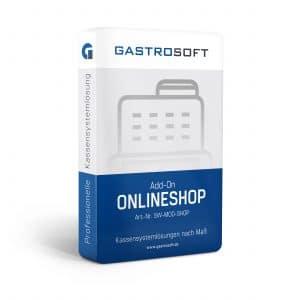 Verpackung einer professionellen Kassensoftwarelösung, Kassensystemlösung, Zusatzmodul - Add-On Onlineshop